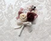Burgundy Ivory Cream Rosettes Boutonniere/ Wedding Lapel Pin/ Handmade Wedding Accessory