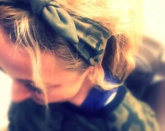 Camouflage Headband - Jersey Army Headband - Women Headband