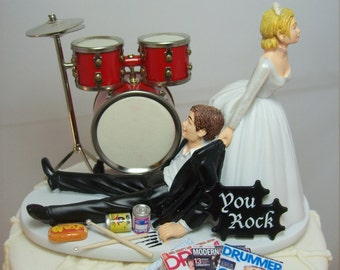 drummer wedding cake topper drum cake etsy 13755
