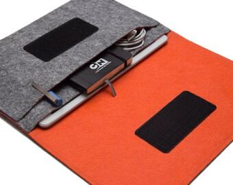 "iPad Pro 12.9"" Sleeve, iPad Pro 9.7"" Case, iPad Air 2 cover, iPad 10.5"" Case - Gray & Orange - Weird.Old.Snail"