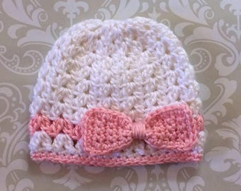Crochet baby V-Stitch beanie with Bow - size 0 to 3 mos - an adorable baby shower gift, available now