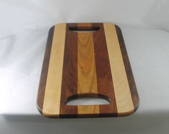 Walnut, Maple, Mahogany and Canary Wood Hardwood Tray / Cutting Board or Carving Board With Double Handles