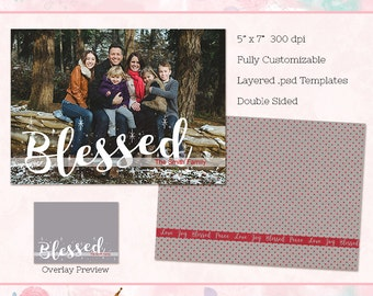 Christmas Card Template, Overlay, 5x7 Holiday Card (double sided) - Instant Download