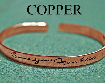 Personalized Copper Cuff Bracelet, personalized quote, handwriting bracelet, handwriting jewelry, memorial gift, copper quote bracelet,