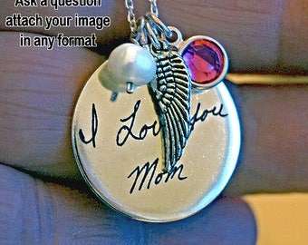 I Miss You Necklace // Sympathy gift // Memorial Jewelry // loss of loved one, in memory of, never forgotten, angel wing charm, keepsake