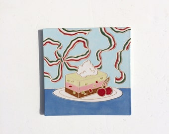 Spumoni tile handmade accent italian dessert decorative kitchen ceramic
