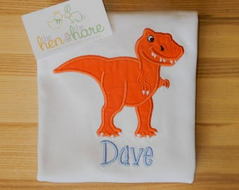 Dinosaur Trex not scary T-Rex shirt or onesie boy girl personalized customized choose colors birthday gift present embroidered applique