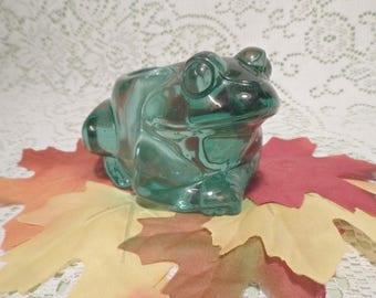 Teal Frog Votive Holder---Indiana Glass