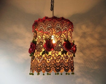 English Rose-Sima's Favorite Flowers with Gold Dyed Lace,hand made green organza leavs and Glass crystal Beads- Romantic Victorian lampshade