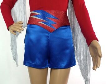 On Sale Huzzar Design 70s Style Mr Freedom Glitter Ziggy Lightning Bolt Design Appliqué Belt