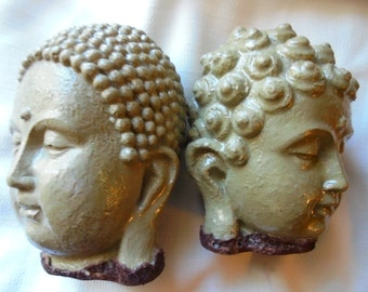 Buddha Statue Stones, Pair, Rubber Bottoms, SHIPPING INCLUDED