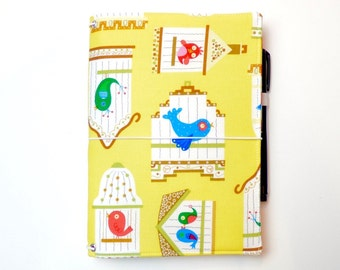 LEUCHTTURM1917 Leuchtturm 1917 cover Yellow Bird Cage Wide Midori Fauxdori Fabric Travelers Notebook Wide Faux Dori Moleskine Planner Cover