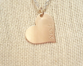 Copper Heart XOXO Necklace Minimalist Jewelry Hand Stamped Wire Wrapped Jewelry