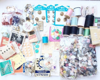 Vintage buttons and sewing supplies large lot Assorted items and materials