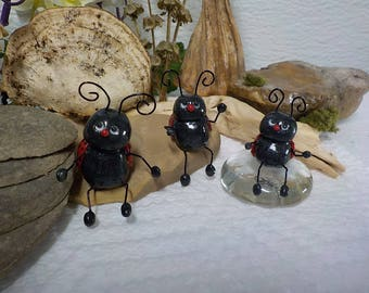 Lady Bug Sculpt , Miniature Decoration, Bug Decoration, Clay Bug , Lady bug Ornament,Whimsical Art, Insect Sculpt
