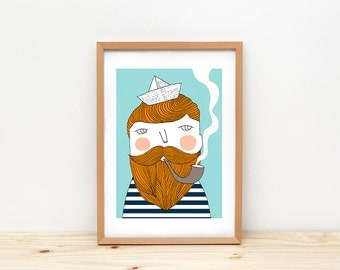 Impression d'art marin, illustration par depeapa, homme, barbu marin mur, format A4, marin affiche, art de la chambre de bébé moderne, décoration murale, décor de chambre pour enfants