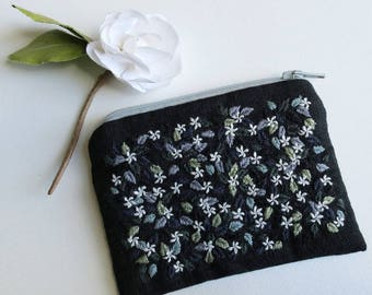 Jasmine Coin Purse - Hand Embroidered - Jasmine Flowers and Leaves - Embroidery Art