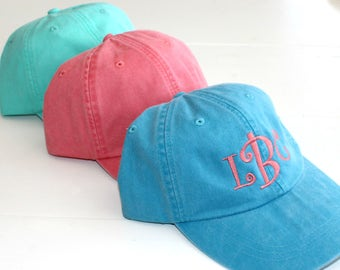 Monogrammed Baseball Cap Personalized Adams Hat Custom Embroidery beach bum usa