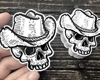 Texan Gothic Cowboy Skull - Sticker Decal - FREE US SHIPPING
