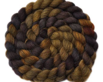 Hand dyed roving - Gray Masham Wool / Nylon 80/20% spinning fiber - 4.9 ounces - Old Timer 2