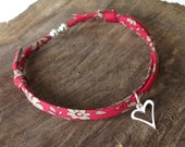 Red anniversary bracelet with silver heart charm, size adjustable via sliding knot, sweet gift for girlfriend, daughter or sister