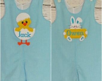 Boys Easter Longall Shortall Jon Jon Monogram Applique Easter Bunny Easter Chick Romper First Easter Outfit