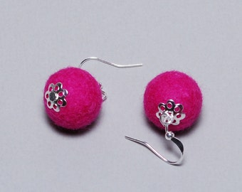 Felt Earrings - Felt Ball Earrings - Unique Earrings - Unique Gift - Mothers Day Gift - Pink Silver Plated Earrings