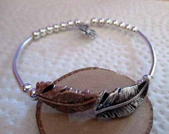 Feather Silver and Gold Bracelet