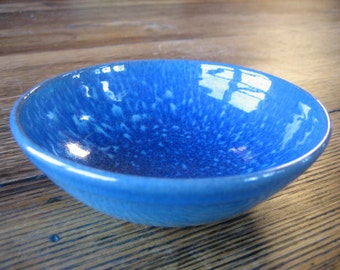Rowantrees Pottery Blue Hill Maine Round Mottled Blue Bowl 50th Anniversary 1984 #2