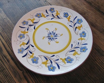 "Stangl Fairlawn Caprice 10"" Dinner Plate 1959-78 White w Blue Yellow Flowers"