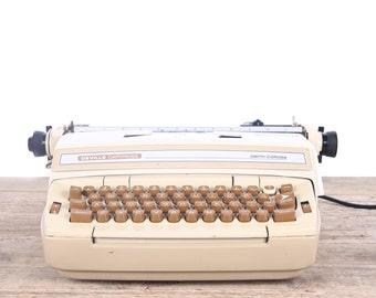 Vintage Working Electric Typewriter / Tan Smith Corona Deville Electronic Typewriter / Typewriter Case / Retro Typewriter Old Office Decor