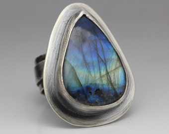 Labradorite and Sterling Ring, AAA Blue Flash Labradorite, Boho, Labradorite Statement Ring, Size 8