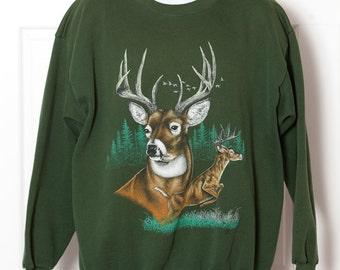 90s Vintage Whitetail Deer Sweatshirt - xxl
