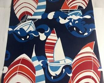 Vintage Wallpaper-1970s Retro Sailboats-by the yard for Sara