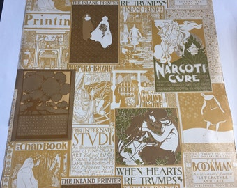Vintage Wallpaper- collectible 1960s art nouveau- The Inland Printer- by the yard