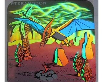 SALE Rare Vintage Hologram Dinosaur Sticker Holographic Pterodactyl
