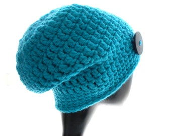 Wool Hat, Women's Crochet Hat, Turquoise Beanie Hat with Black Button, Small Size