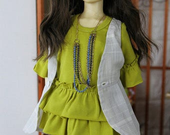 SAYOKO outfit for 10SD dollfie 1/3 BJD Doll - Olive TOP (No.A642)