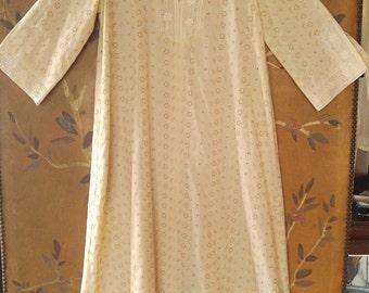 70s cream kaftan embroiderie anglaise / eyelet maxi dress by Kiyoni Hawaii, Liberty House