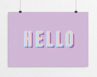 HELLO Typography - a design print // 8.5x11 or 13x19 // 5 color options // Scandinavian modern nursery