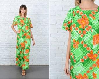 Vintage 70s Green Hawaiian Boho Dress Hippie Vibrant Orange Floral Geo Xl 8836