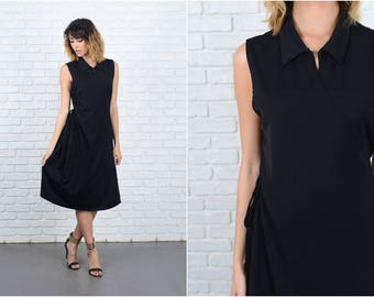 Vintage 70s 80s Black Wrap Dress Midi Sleeveless Shirtdress Shirt Dress Medium M 9258