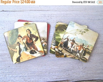 6 Vintage Art Coasters, Victorian Motif Art Blocks, Impressionism Print collage, Leather Base, English Cottage Decor Office Barware Man Gift