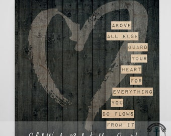 Wood Sign: Guard Your Heart - Love Inspired - Product Sizes and Pricing via Dropdown Menu