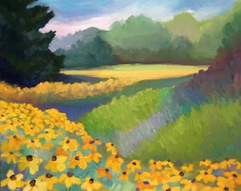 Yellow Coneflowers Large Landscape Oil Painting on Canvas