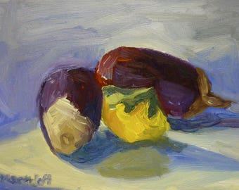 Eggplant Still Life Oil Painting on Canvas