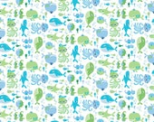 Blue & Green Sea Animals on White from Northcott Fabric's Whale of a Time Collection by Deborah Edwards
