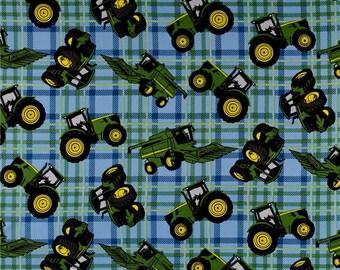 John Deere Farm Tractors on Blue Plaid from Springs Creatives