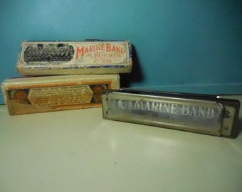 Vintage Marine Band Harmonica in original box Key of C