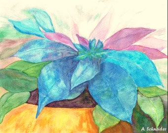 Watercolor Print, Pointsettia, Wall Decor